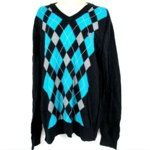 Express Mens Medium M Black Teal Argyle Sweater